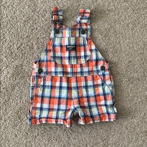 Plaid Overall Shorts